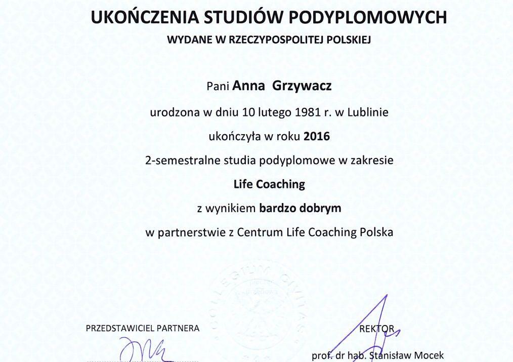 Dyplom Life Coaching Grzywacz